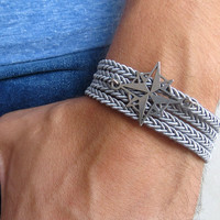 Men's Bracelet - Men's Compass Bracelet - Men's Gray Bracelet - Mens Jewelry - Bracelets For Men - Jewelry For Men - Gift for Him