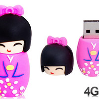 Cute Japanese Doll Design 4GB USB Flash Drive (Pink)