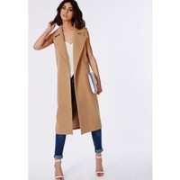 Missguided - Sleeveless Tailored Coat Camel