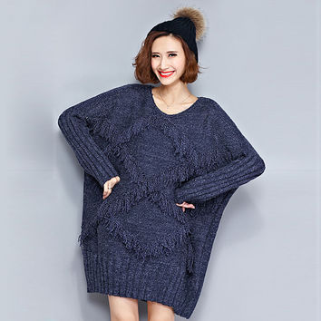 Big Size Women's Sweaters Plaid Tassel Pattern Casual Long Pullovers Knitted Sweaters O-Neck Thick Winter Warmth Wool Dresses