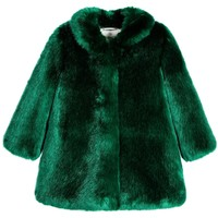 Girls Emerald Green Synthetic Fur Coat