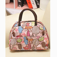 New 2015 Fashion Cartoon Lady Women Handbags lunch box bag Character Animal prints Candy color bags Polyester