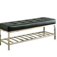 "Black Leather-Look/Chrome Metal 48""L Bench"