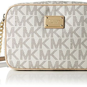Michael Kors Women's Large Jet Set Crossbody Leather Cross-Body Tote