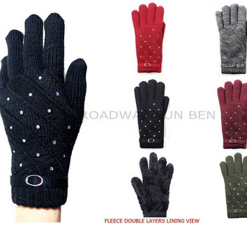 Rhinestone Studded Fashion Double Layer Plush Lined Gloves