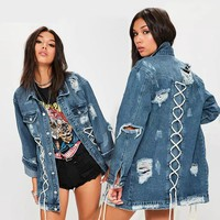 Alysha Lace Up Denim Jacket