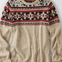 AEO Men's Fair Isle Crew Sweater (Oatmeal)