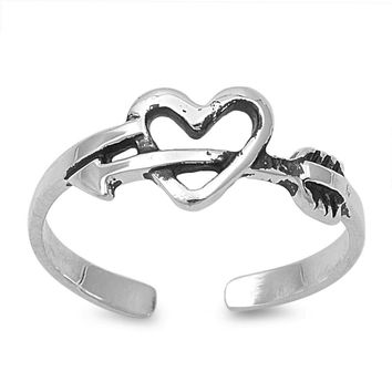 Sterling Silver Cupid Arrow Heart 6MM Toe Ring/ Knuckle/ Mid-Finger
