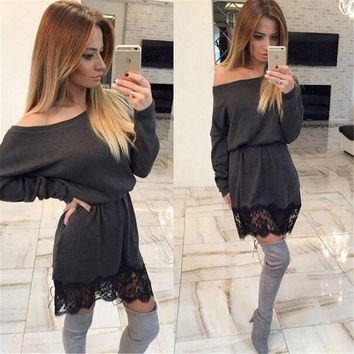 DCCKVQ8 Casual Simple Lace Stitching Long Sleeve Mini Dress