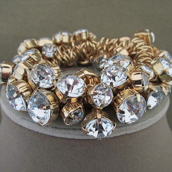 Chunky Cha Cha Rhinestone Dangle Cuff Bracelet