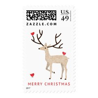 Deer (stag) with red birds merry Christmas Postage