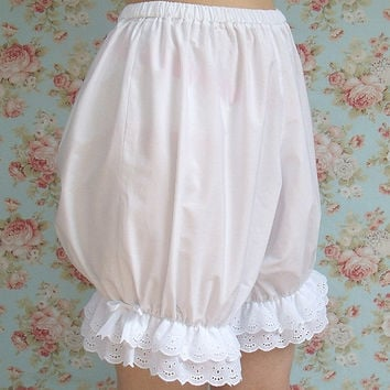 White cotton bloomers with eyelet lace and satin bows, custom sized, Victorian style