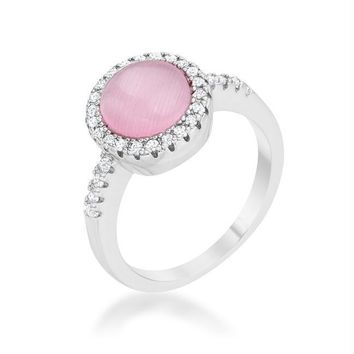 Patricia 0.3ct CZ Pink Cat's Eye Rhodium Classic Ring, Size 5