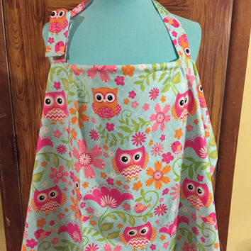 Nusing cover in owl pink print baby accessory