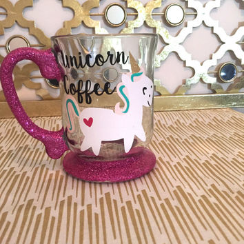Glass Glitter Coffee Mug// Unicorn Coffee/Glitter Dipped// Latte Mug// Custom Glitter Mug// Coffee Lover// Personalized Gift