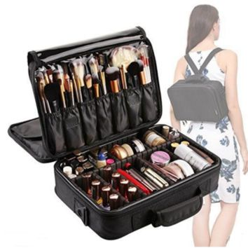 3 Layers Makeup Bag Travel Cosmetic Case Brush Holder Waterproof