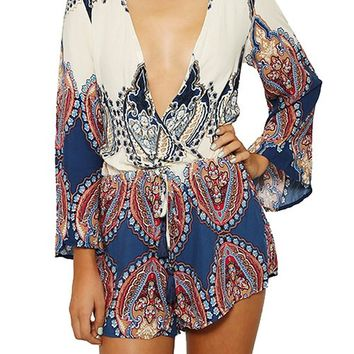 Mink Gal Women Long Sleeves Leaf Pattern Deep V Neck Casual Jumpsuit Romper Colour Nacy Blue Size L