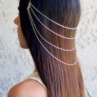 Valentines Day Silver Hair Chain Jewelry Barrette Sexy Head Accessory Boho Coachella Kardashian Head Piece