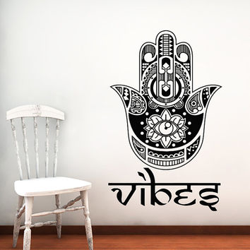 Wall Decal Hamsa Hand Vinyl Sticker Decals Art Home Decor Design Mural Yoga Eye Indian Vibes Fatima Buddha Ganesh Lotus Om Bathroom #17