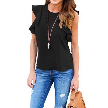 Women Blouse 2017 Summer Sexy O Neck Sleeveless Ruffles Shirts Casual Slim Solid Blusas Plus Size Tee Tops