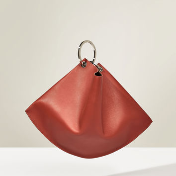 STUDIO LEATHER MAXI BUCKET BAG WITH HOOPS DETAILS