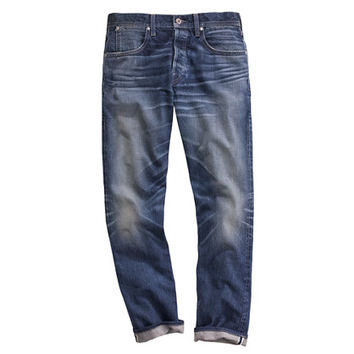 J.Crew Mens Wallace & Barnes Slim Selvedge Jean In White Oak Cone Denim With Deck Fade Wash