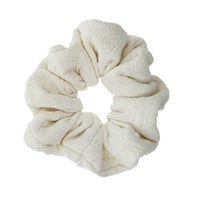 White Quilted Hair Scrunchie - White