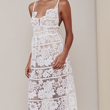 White V-neck Spaghetti Strap Open Back Asymmetric Hem Lace Dress