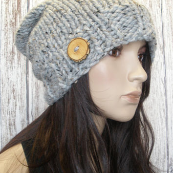 Slouchy Beanie Hat Winter Hand Knit Oatmeal Gray Tweed Woodsy With A Wood Button