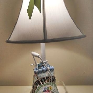 Mosaic recycled Teapot Table Lamp 24 Inch handmade broken china mosaic greens blues on Handmade Artists' Shop