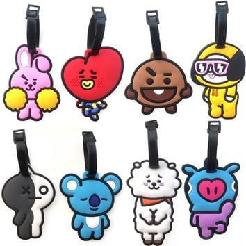 KPOP BTS Bangtan Boys Army    Boys BT21 Luggage Tag Cartoon CHIMMY COOKY TATA Travel Backpack Bag Pendant Accessories AT_89_10