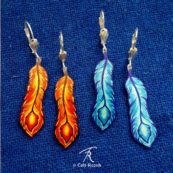 Phoenix Feather Fire Ice Blue Orange Fantasy Magic Metal Earrings