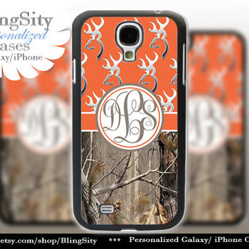 Monogram Galaxy S4 case S5 Browning Orange Real Tree Camo Deer Personalized RealTree Samsung Galaxy S3 Case Note 2 3 Cover