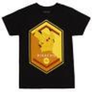 Pokemon Pikachu Polygon Logo Officially Licensed Adult Unisex T-Shirt - Blk - XL
