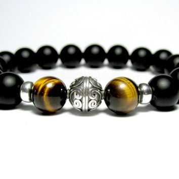 Tiger Eye Bracelet, Matt Onyx Bracelet, Silver Bracelet, Mens Beaded Bracelet, Gift for Him, Stretch Bracelet, Gemstone Bracelet,