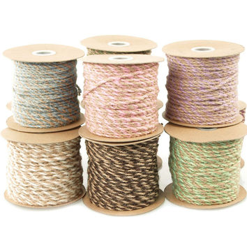 Burlap Twine Jute Cord Ribbon Bi-Colored, 2.5mm, 50-yard
