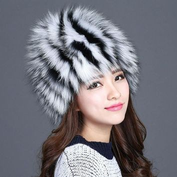 ESBU3C Hot sale winter fur hat for women design real fox fur hats fluffy warm ear knitted 2016 new fashionable famale girls beanies