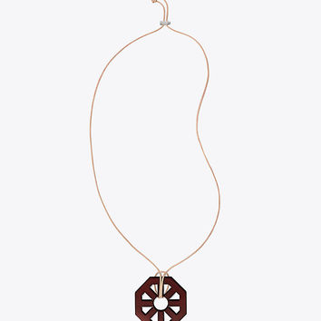 Tory Burch Geo Wood Pendant Necklace
