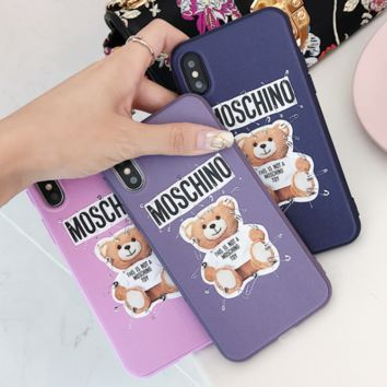 Moschino Tide brand pin bear iPhone XS Max phone case couple models embossed soft shell