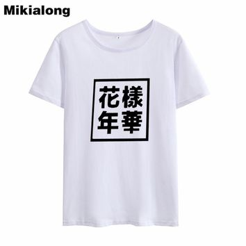 OLN 2018 Ulzzang Harajuku Chinese Women Cotton T Shirt Korean Fashion O-neck Summer T-shirt Femme Tumblr Women Tshirt
