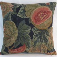 """Melon and Sunflower Tapestry Pillow, Cantaloupe Fruit Flowers Leaves in Green Orange Gold Black Navy, Old World Style, 17"""" Sq, Ready Ship"""