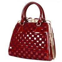 Fashion Nobel Weave Leather Diamond Plaid Totes