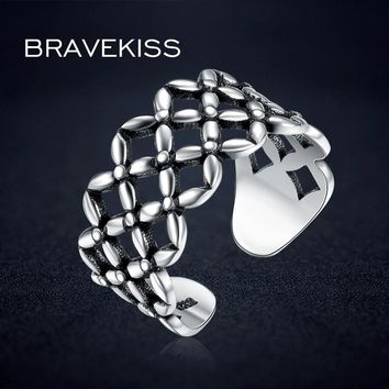 BRAVEKISS Retro 925 Sterling Silver  Ring Women Adjustable Open Ring Big Wide Band Party Filigree Hollow Rings Antique BLR0315