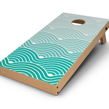 Beach Hotel Wallpaper Waves CornHole Board Skin Decal Kit