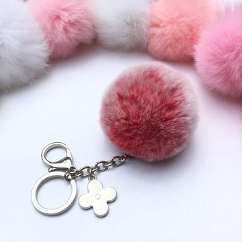Silver Summer Series Red Frosted REX Rabbit fur pompom keychain ball with flower bag charm