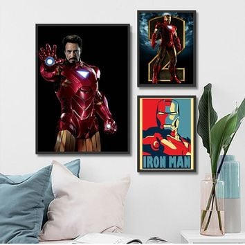 Superhero Movie Painting on Canvas Art Print Ironman Poster Wall Picture for Living Room Kids Room Home Decor Children Gift