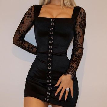 Lace Long Sleeve Winter Women's Fashion Sexy One Piece Dress [1921865220193]