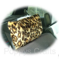 brown leopard animal print faux fur furry fluffy fuzzy car headrest covers 1 pair