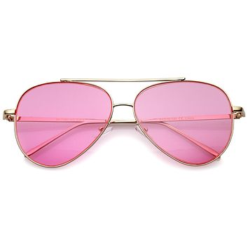 Retro Color Tone Color Flat Lens Aviator Sunglasses A967