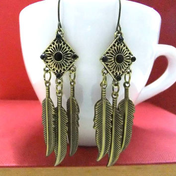 Bronze Feather Earrings, Bronze Earrings, Feather Jewellery, Feather Dangle Earrings, Bronze Dangle Earrings, Boho Earrings, Hippie Earrings